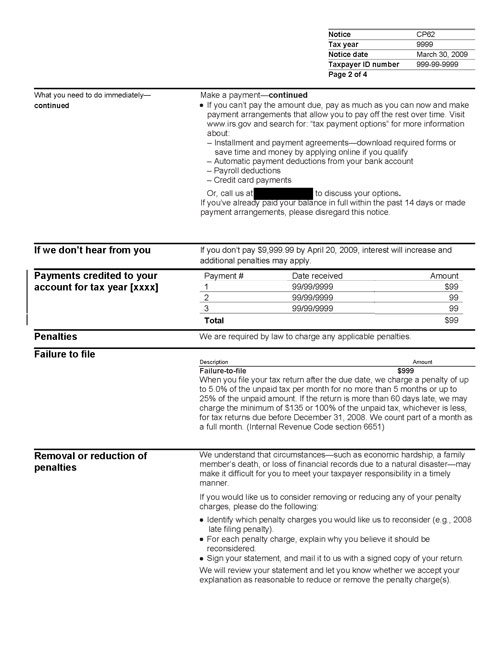 Image of page 2 of a printed IRS CP62 Notice