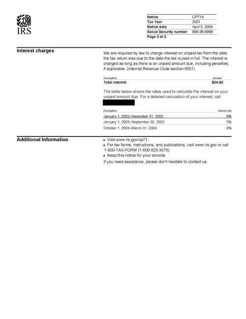 Image of page 3 of a printed IRS CP71A Notice