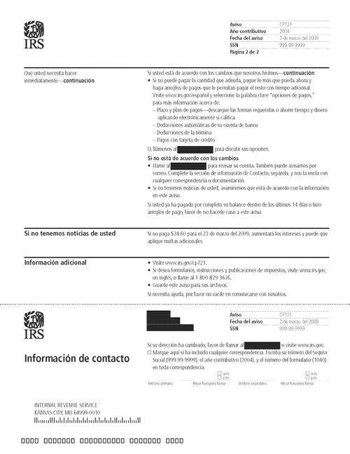Image of page 2 of a printed IRS CP721 Notice