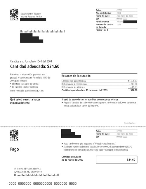 Image of page 1 of a printed IRS CP722 Notice