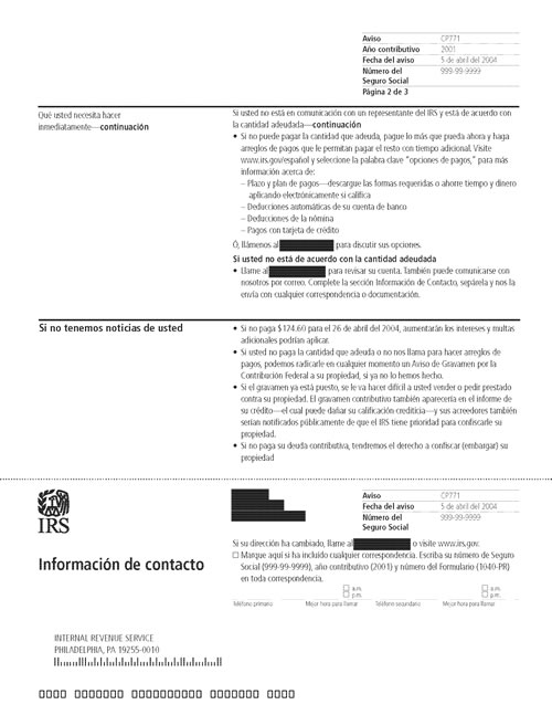 Image of page 2 of a printed IRS CP771 Notice