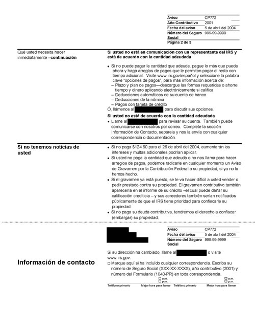 Image of page 2 of a printed IRS CP772 Notice