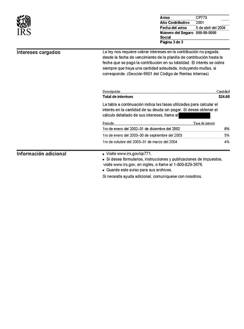 Image of page 3 of a printed IRS CP773 Notice