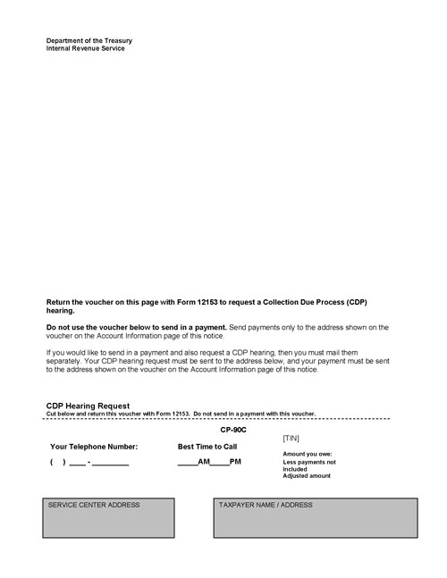 Image of page 1 of a printed IRS CP90C Notice