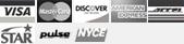 Visa, MasterCard, Discover, American Express, Access, Star, Bill Me Later, Pulse, NYCE icons