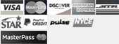 Visa, MasterCard, Discover, American Express, Access, Star, Bill Me Later, Pulse, NYCE icons