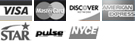 Visa, MasterCard, Discover, American Express, Star, Bill Me Later, Pulse, NYCE icons