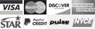 Visa, MasterCard, Discover, American Express, Star, Bill Me Later, Pulse, NYCE icons