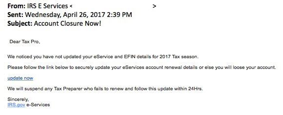 Image of a Phishing email the depicts text and branding designed to mimic IRS branding and fool the recepient.