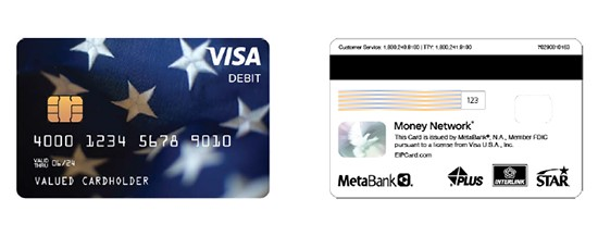 Front and back of a sample debit card
