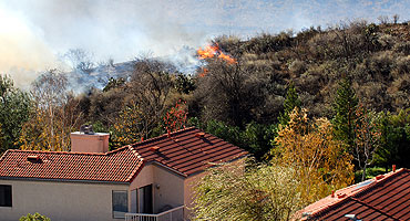 House on fire during California wildfires