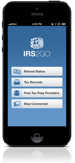 IRS2Go 2012 Home Screen