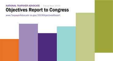 National Taxpayer Advocate 2019 Objectives Report to Congress cover page image